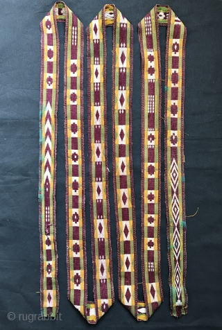 An unusual antique Uzbek / Ghajaree (Ghajari Gajari) silk woven tent band, dating to late 19th century. Such float weft weaving made in border region of Northern Afghanistan and Uzbekistan have always  ...