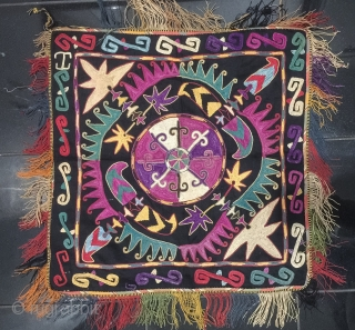 An unusual and very attractive Antique Uzbek lakai Tribe silk embroidered ilgich hanging. This fine chain-stitched silk embroidered on black cotton dates to early 1900s and has a very unusual design with  ...