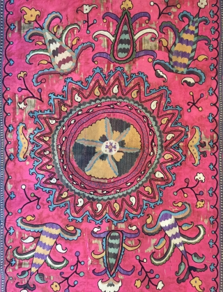 A vibrant Antique Uzbek Silk on Silk Suzani / Susani from Shahrisabz dating to the late 19th century. Often these are mis attributed to the lakai tribe when in fact they are  ...