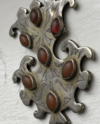 A very fine example of Antique Tekke Turkoman / Turkmen gold painted silver pendant with carnelian insets. Dating to the 19th century these intricately shaped bridal jewellery are known as Gulbaqa (literally  ...
