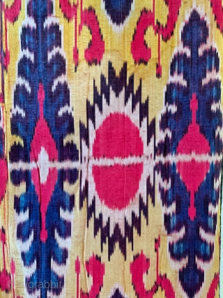 An excellent and rare antique Uzbek silk adras Ikat hanging from Bukhara / Bokhara, dating to the 3rd quarter of the 19th century. This beautiful example is a silk warp and red  ...