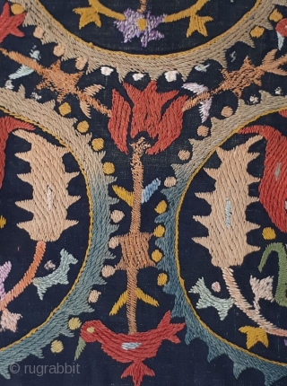 An Armenian, Cilician Marash Antependium needlework - second half 19th C.. This lovely and rare panel is in good state of preservation, with fresh colours, just a little wear due to natural  ...