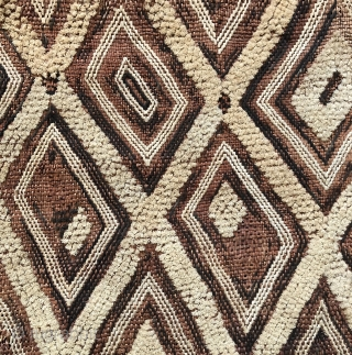 "Kuba raffia cut pile man's status cloth. Shoowa or Bushong people. This example has a large scale graphic with ""primitive""  feel and character. The colors are warmer than in these inmages.  ..."