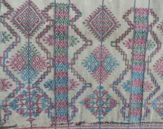 Bhutanese Tunic (kushung /kishung)  19th century. Silk and wool on cotton ground.  Hard to find and more elaborately decorated than many.  31 x 45 inches.  See in San  ...