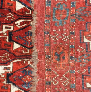19th century Turkmen Juval.  Saryk-like colors, design and wool, but open right knotting. Middle Amu Darya region.  All dyes natural with a good clear, strong madder red ground.  Very  ...