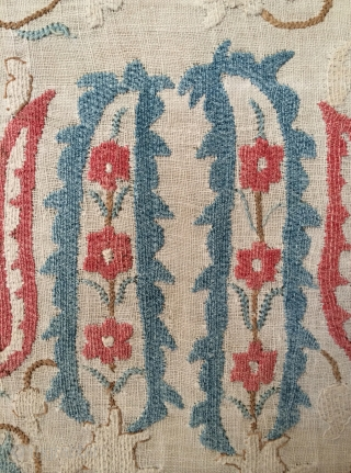 18th Century Ottoman Embroidery.  Cotton embroidery on delicate hand loomed cotton ground. Complete. Size: 32.5 x 45 inches.  This piece has mellow coloration and a quiet, soothing presence that is  ...