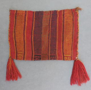 Late Horizon coca bag, Peru, A.D. 1200 - 1400.  Very colorful and supple warp-faced bag in great condition.