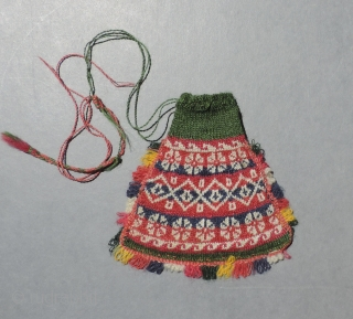 Fine little 19th century knit coin purse from Bolivia - for the knitter in your family.  All natural colors. Made with a secondary external pocket that can only be accessed from  ...
