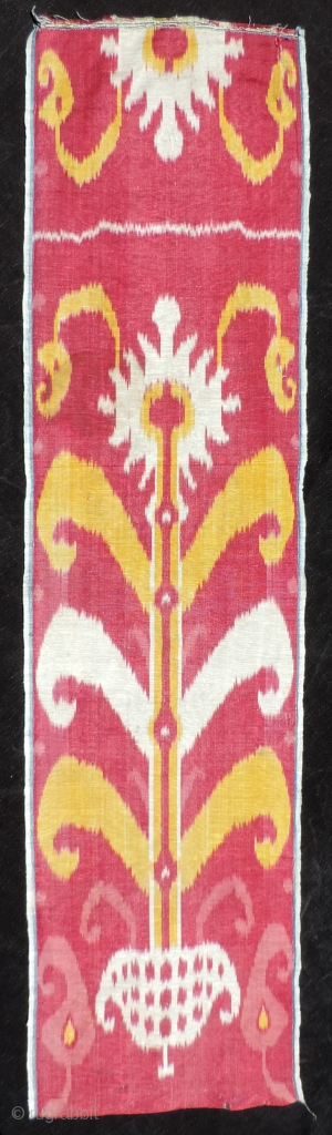 Very nice 19th century Central Asian Ikat panel.  Good size and showing the full totemic tree-like image as one design segment.  Side selvedges are intact.  The size is 12x  ...