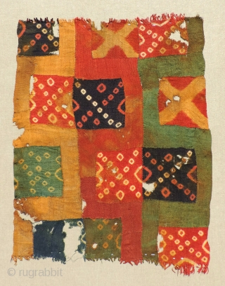Pre-Columbian tie dye panel, Wari Culture, A.D. 600 - 900.  Size: 25 x 33 inches.  This textile has a colorful and interesting combination of tie dye patterns woven in discontinuous  ...