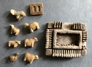 19th century carved alabaster fetishes used in animal increase rites in the Altiplano region of Bolivia and Southern Peru. Stone figures such as these were carved by Callawaya - traditional Aymara healers  ...