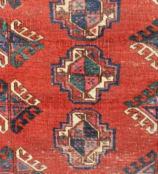 This small Middle Amu Daria Turkmen carpet is of unknown tribal origin, but has the look of a Salor Turkmen weaving. The spacing of the guls is generous and lends a  ...