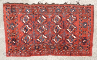 Large Middle Amu Daria region juval.  19th century.  In very good condition and complete except for its back, this piece has good dyes and wool with a supple, meaty handle.  ...