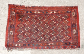 Middle Amu Daria Turkmen juval.  Good older example of this group with multi-gul layout.  Colors and wool quality are very nice with a clear yellow and touches of insect-dyed magenta  ...