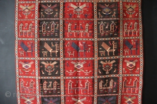 """Very fine, beautifully made Baku Verneh 6'7"""" x 4'5"""" / 200 x 133cm with a wide variety of animated birds, dogs and goats. Dated four times. In excellent condition with very minor  ..."""