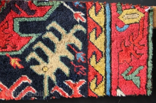 "Small Sauj Bulagh fragment ca 1800 with dragon forms. Probably part of a runner. Superb wool and colour 9"" x 32""