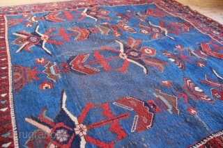Antique Afshar rug, 19th century, strong design graphically, the vases of flowers produce a strong negative space. It's a very artistic rug sadly in damaged condition, and with a large repair in  ...