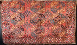 "Ersari Gull-i-gul main carpet fragment with shaggy pile and lovely colour. !9th c. 6'9"" x 3'10"" / 206 x 117cm"