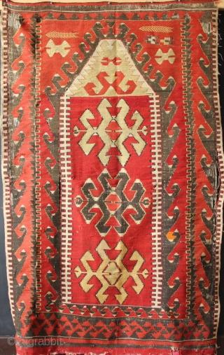 Small Anatolian prayer kilim, late 19th century. Very nomadic and charming piece.