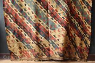 Very handsome antique Shahsavan kilim approx 300 x 200 in need of a clean, otherwise in good condition.