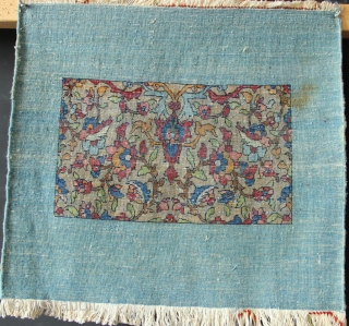 """Very charming small Ispahan or Kashan mat ca 1920. Abstract and nice! approx 2'0"""" x 1'9"""" All original."""