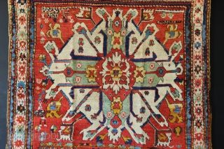 "Antique Chelaberd Kazak, Karabagh district, Azerbaijan, Circa 1875 in excellent, restored condition. 4'7"" x 6'10"". Last three pictures show pre-restoration. The asymmetric aspect to the field fillers indicates, to me, a good  ..."