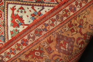 Lovely old Melas prayer rug, early 19th century, in very good pile, original edges with a few small old cobbling ups. Glorious movement in the border, a really classy old prayer that  ...
