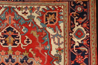 "Beautiful small antique Heriz rug 5'3"" x 6'11"" /160 x 210cm"