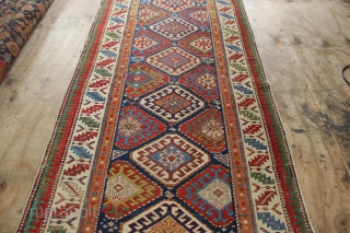"""Beautiful antique Moghan runner, with repairs- see pictures. 3'6"""" x 9'10"""""""