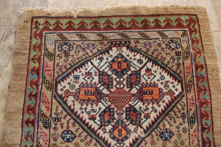 """19th century Sarab runner with a wide range of rich natural dyes, in slightly worn condition. Missing sides, raggedy at one end. Great restoration opportunity! 3'1.5"""" x 9'10"""""""