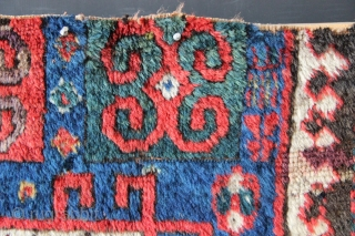 "Early Karachopf Kazak fragment, circa 1825-50. Blue ground examples are extremely rare! In very good pile but with primitive repairs. 2'6"" x 5'2"""