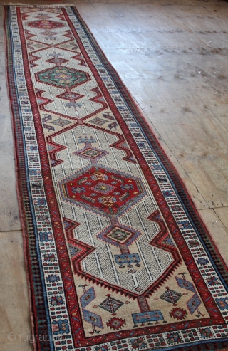 Pretty Sarab runner circa 1910, in great condition, all original. More or less full pile, very slightly low at one end, see picture. Looks like something green was spilt on it in  ...