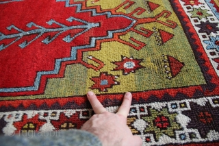 Colourful Konya prayer rug circa 1850. I love the golden border with the multi coloured serrated leaves, they seem to be moving as you look at them. Great aubergine colour too. All  ...