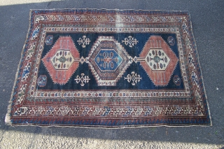 Shirvan rug, natural colours but chemically washed, general wear + band of wear (floorboard) down to foundation across centre, sides and ends are presentable, 183 x 150cm