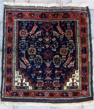 "Salar Khani Baluch bagface, 19th century, 20""x19"".  A finely woven bag with exceptional wool and natural colors.  It is hard to capture in photographs and the close up pictures are  ..."