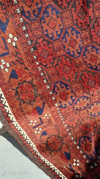 Khorasan Baluch rug. 1900 or so, ~95cm x ~150cm. Excellent shape. Vibrant wool. Some corrosion. One small, inconspicuous mend at the south end. Clean. Photo #2 taken in partial sun. The remainder  ...
