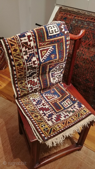 "Antique Avar rug.  Petite size, 86cm x 107cm (34""x44""). Good condition, sides and ends in tact and secure.  Good color. Slight oxidation.  Soft handle and, true to form, has  ..."