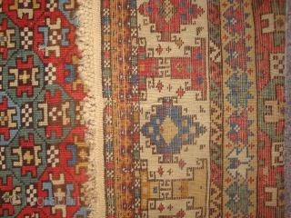 "Mystery prayer rug: what to call it? Gendje? Shahsavan? Southeast Caucasus? ???  3'8"" x 5'7"" Very good condition, with good pile save for small area of wear near top of field.  ..."