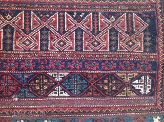 Large and unusual Afshar sumak panel, 60 x 25.5 inches. Long sides (warp ends) are overcast with black wool; short sides (weft ends) are embellished with camel hair