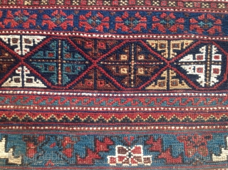 Large and unusual Afshar sumak panel, 60 x 25.5 inches. Long sides (warp ends) are overcast with black wool; short sides (weft ends) are embellished with camel hair knotted and braided fringe. Warps  ...