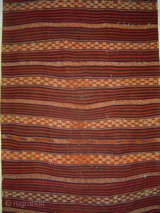 HAPPY NEW YEAR West Anatolian Yuncu Bands and Stripes Long Kilim, 150 x 325 cm. Lots of extra-weft brocaded details. Woven in one piece. Possibly Balikesir area Nomad minimalist work, late 19th century.  Very good  ...