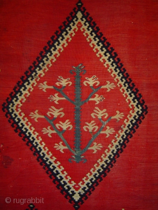 Antique Pirot small Tree kilim, 40 x 59 inches. Very fine weave, delicately drawn small Tree in central diamond medallion. In good condition with small nicks and one small old repair at  ...
