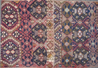 """Anatolian kilim panel,2'8"""" x 8'1"""". Seven horizontal compartments containing 2 types of Guls. Unusual variety of materials: wool, goat hair, cotton, silk and metal-wrapped yarns. Very decorative early 20th century folk art  ..."""