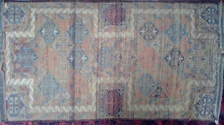 Antique Symmetrically knotted Baluch Double-ended prayer rug with rare design. 34.5 x 62 inches.