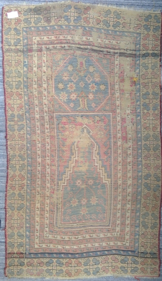 Very old Manastir prayer rug, 44 x 75 inches