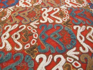 "Chodor Turkmen embroidered sleeve, 19th Century, 1' 7"" x 1' 4"" Excellent Condition"
