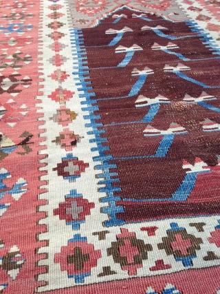 "Ladik Prayer Kilim, 3' 8"" x 6', Central Anatolia,  19th Century  EBAY - http://www.ebay.com/itm/321892693435?ssPageName=STRK:MESELX:IT&_trksid=p3984.m1558.l2649"