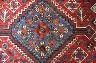 """Shekarlu Qashqai 5""""2'' x 9'4'' - Ebay auction http://www.ebay.com/itm/142276855641?ssPageName=STRK:MESELX:IT&_trksid=p3984.m1555.l2649  Lower pile with some wear and foundation visible - nice natural colors"""