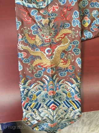 The qing dynasty qianlong period dragon robe, s about 1780 years or so, appearance is shown in figure, welcome consulting