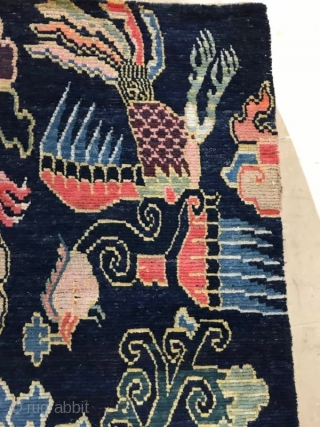Tibet blue double dragon and phoenix carpet, early 20th century, size 156x90cm, welcome to consult.